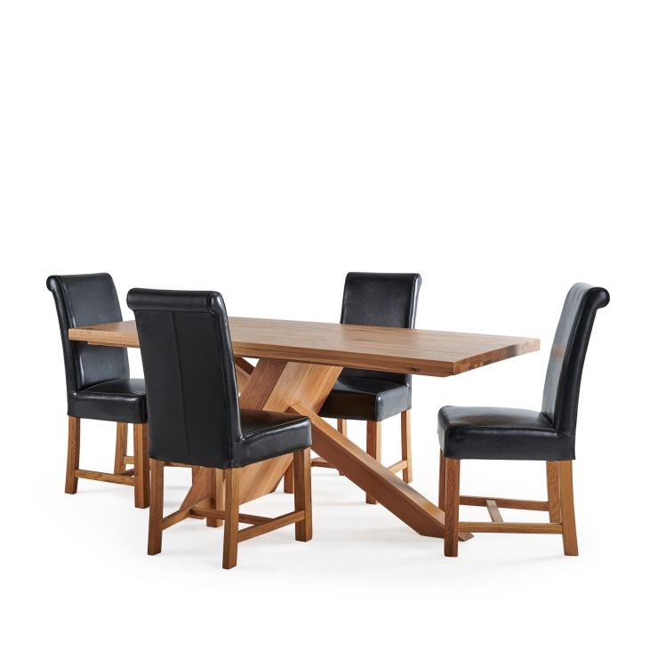 Cantilever Natural Solid Oak Table with 4 Braced Scroll Back Black Leather Chairs
