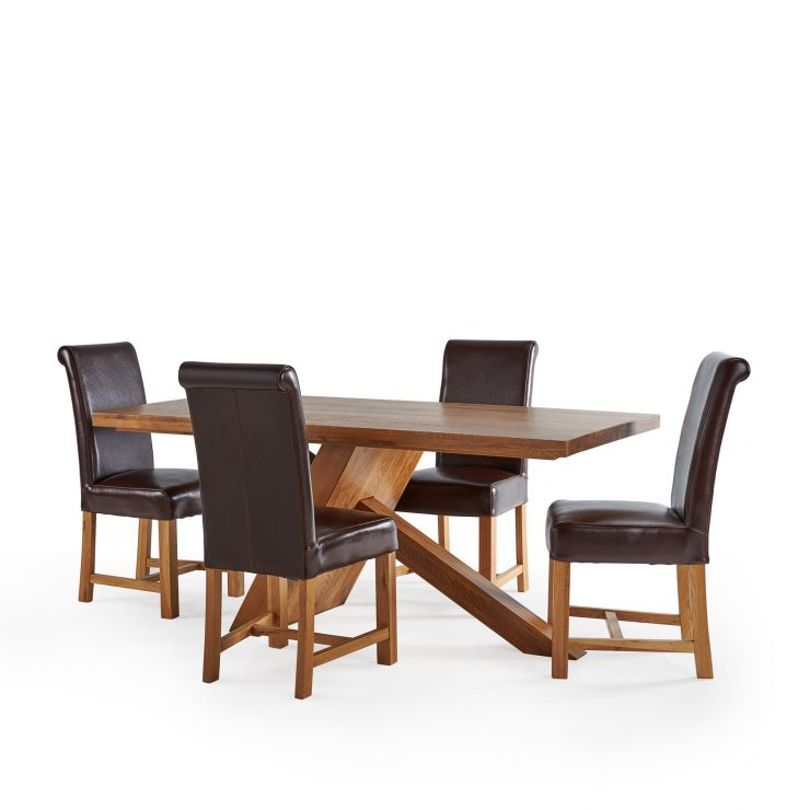 Cantilever Natural Solid Oak Table with 4 Braced Scroll Back Brown Leather Chairs