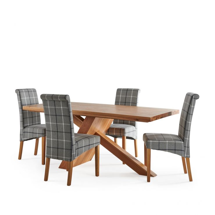 Cantilever Natural Solid Oak Table with 4 Scroll Back Check Granite Fabric Chairs