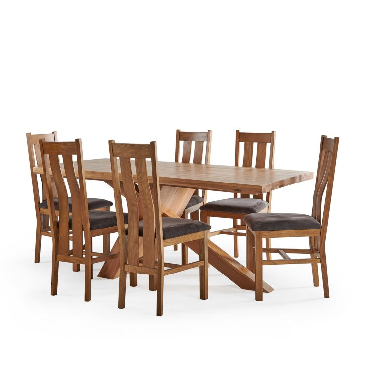 Cantilever Natural Solid Oak Table with 6 Arched Back Natural Solid Oak and Plain Charcoal Fabric Chairs