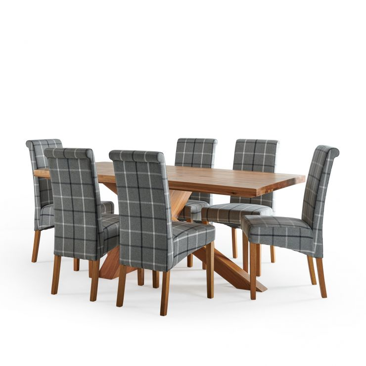 Cantilever Natural Solid Oak Table with 6 Scroll Back Check Granite Fabric Chairs