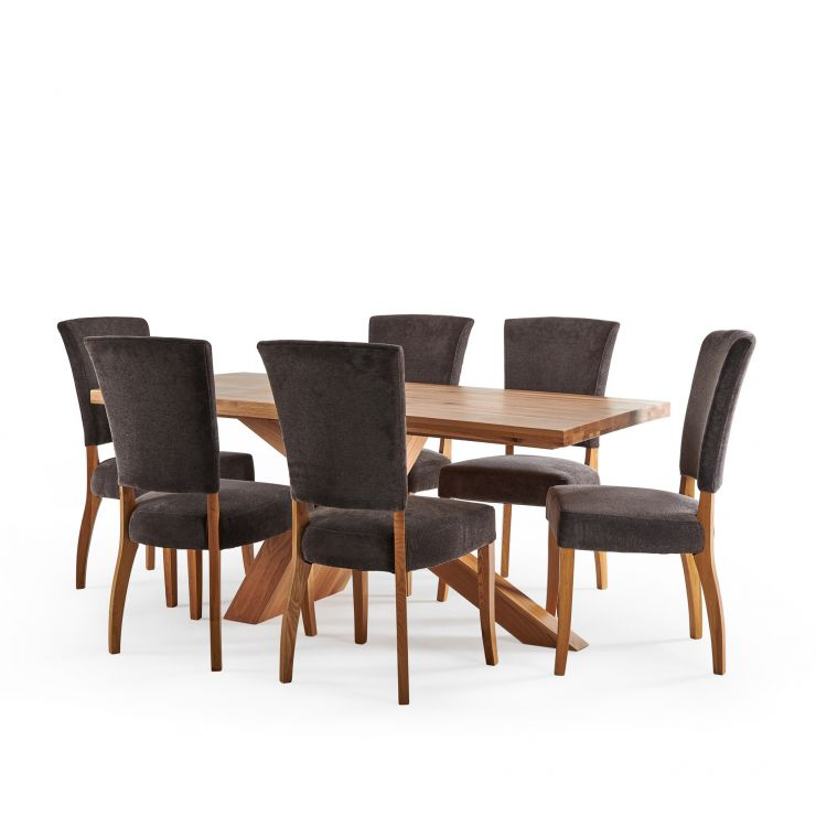 Cantilever Natural Solid Oak Table with 6 Upholstered Curve Back Plain Charcoal Fabric Chairs