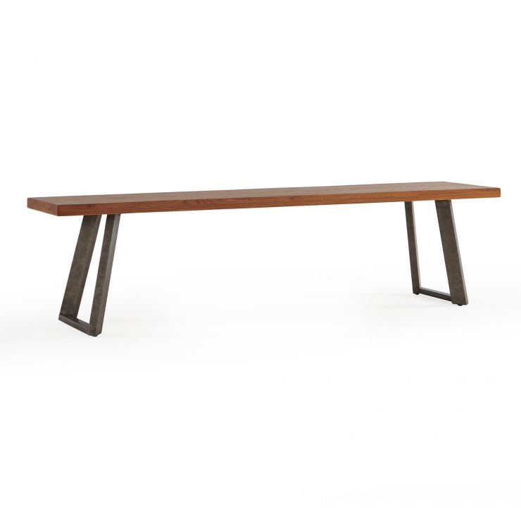 Cantilever Rustic Solid Oak and Metal Bench - Image 1