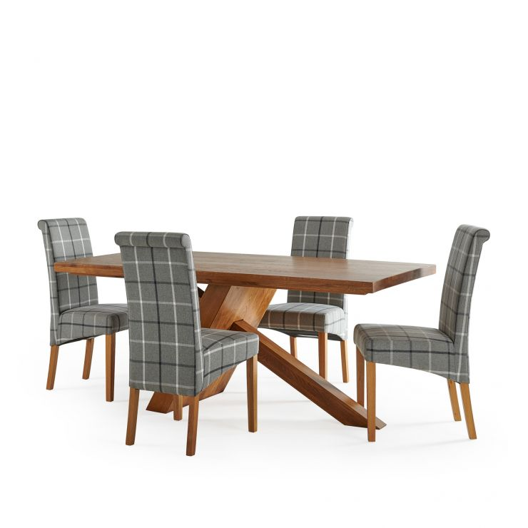 Cantilever Rustic Solid Oak Table with 4 Scroll Back Check Granite Fabric Chairs