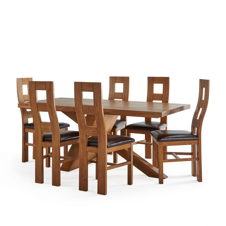 Cantilever Rustic Solid Oak Table with 6 Wave Back Rustic Oak and Brown Leather Chairs