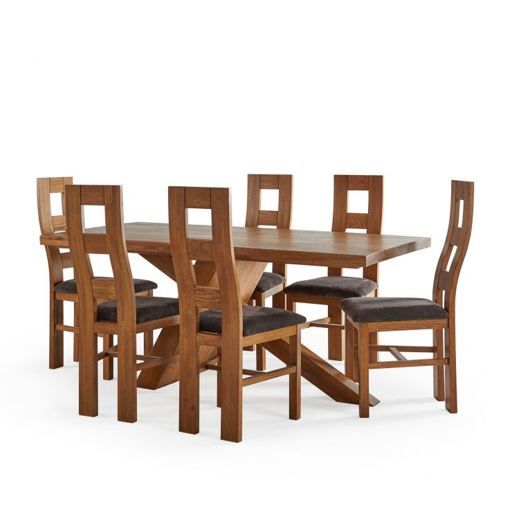 Cantilever Rustic Solid Oak Table with 6 Wave Back  Rustic Oak and Plain Charcoal Fabric Chairs