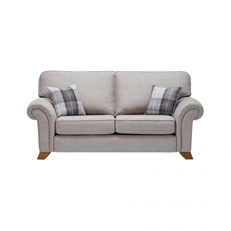 Carolina 2 Seater High Back Sofa in Silver with Navy Scatters