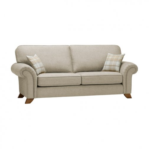 Carolina 3 Seater High Back Sofa in Beige with Beige Scatters