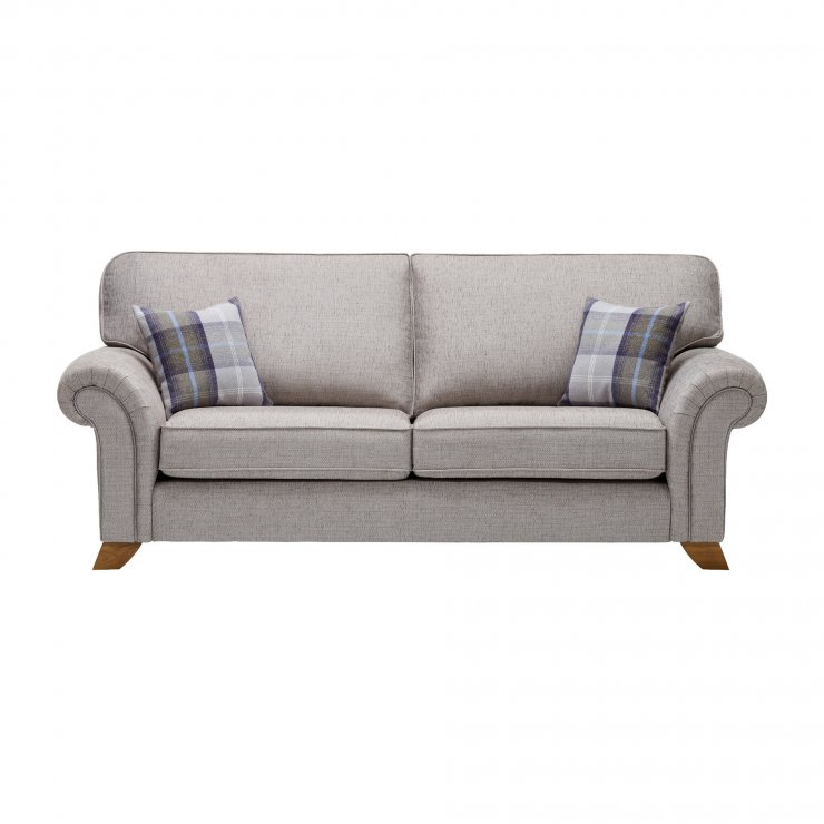 Carolina 3 Seater High Back Sofa in Silver with Navy Scatters