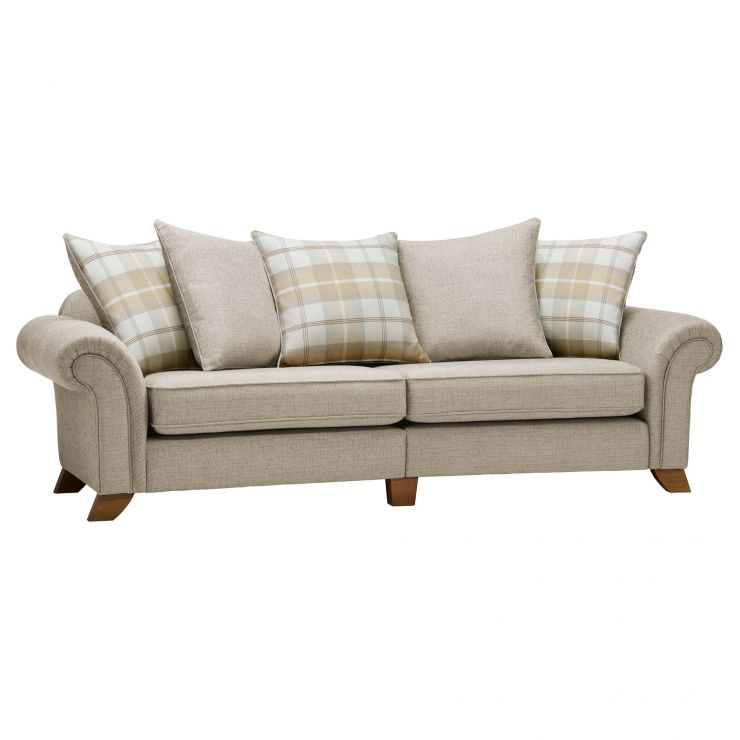 Carolina 4 Seater Pillow Back Sofa in Beige with Beige Scatters - Image 4