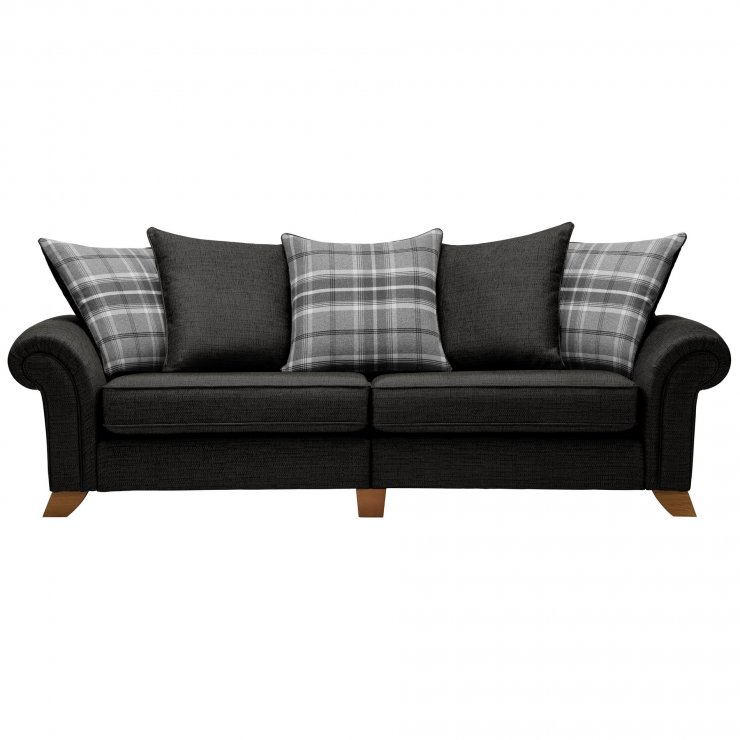 Carolina 4 Seater Pillow Back Sofa in Black with Grey Scatters