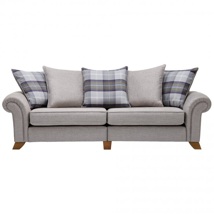 Carolina 4 Seater Pillow Back Sofa in Silver with Navy Scatters