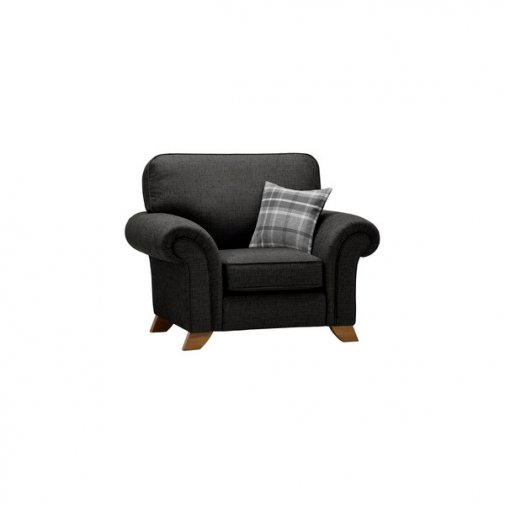 Carolina Armchair in Black with Grey Scatter