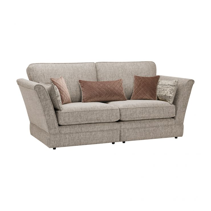 Carrington 3 Seater High Back  Sofa in Breathless Fabric - Biscuit