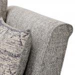 Carrington 3 Seater High Back  Sofa in Breathless Fabric - Silver - Thumbnail 5