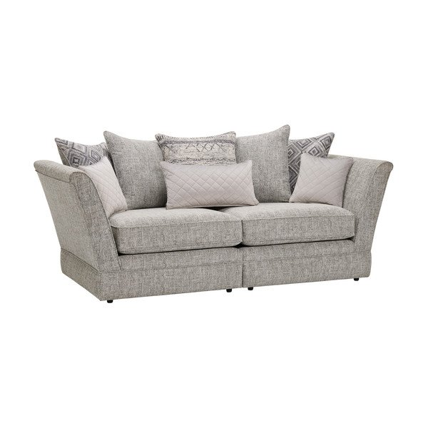 Carrington 3 Seater Pillow Back Sofa in Breathless Fabric - Silver