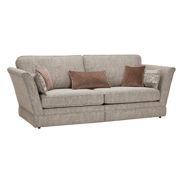 Carrington 4 Seater High Back Sofa in Breathless Fabric - Biscuit - Image 9