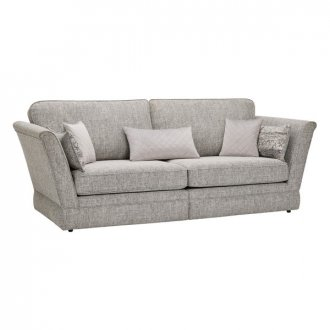 Carrington 4 Seater High Back Sofa in Breathless Fabric - Silver