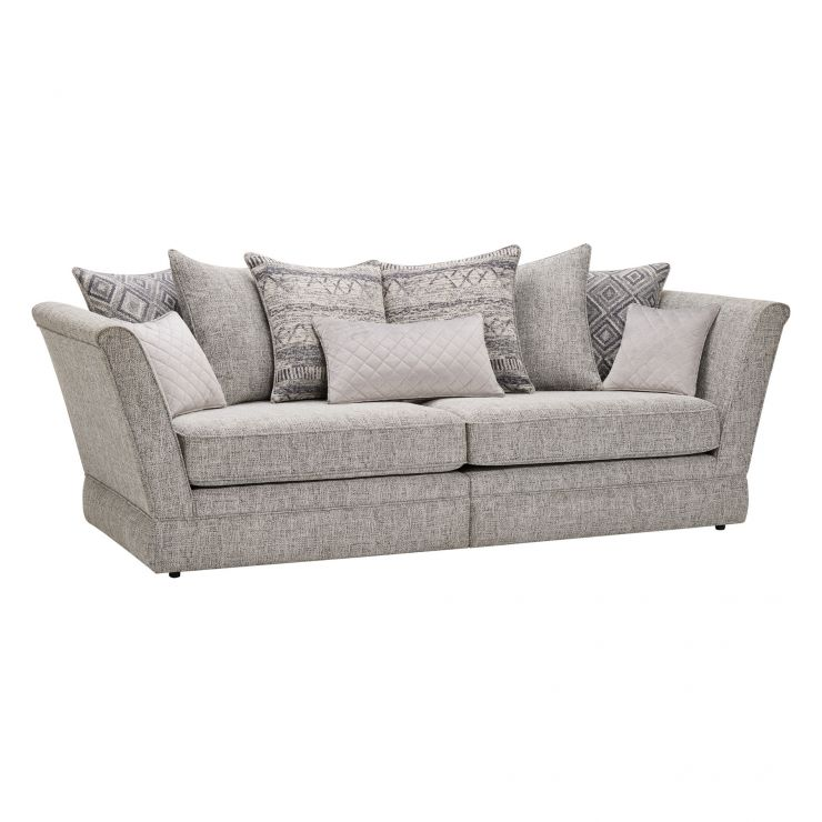 Carrington 4 Seater Pillow Back Sofa in Breathless Fabric - Silver