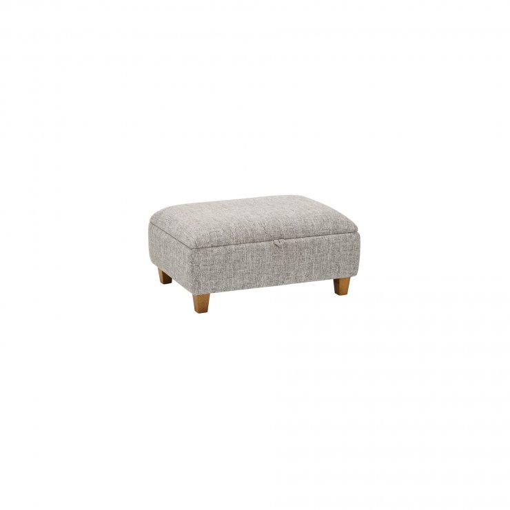 Carrington Storage Footstool in Breathless Fabric - Silver - Image 2