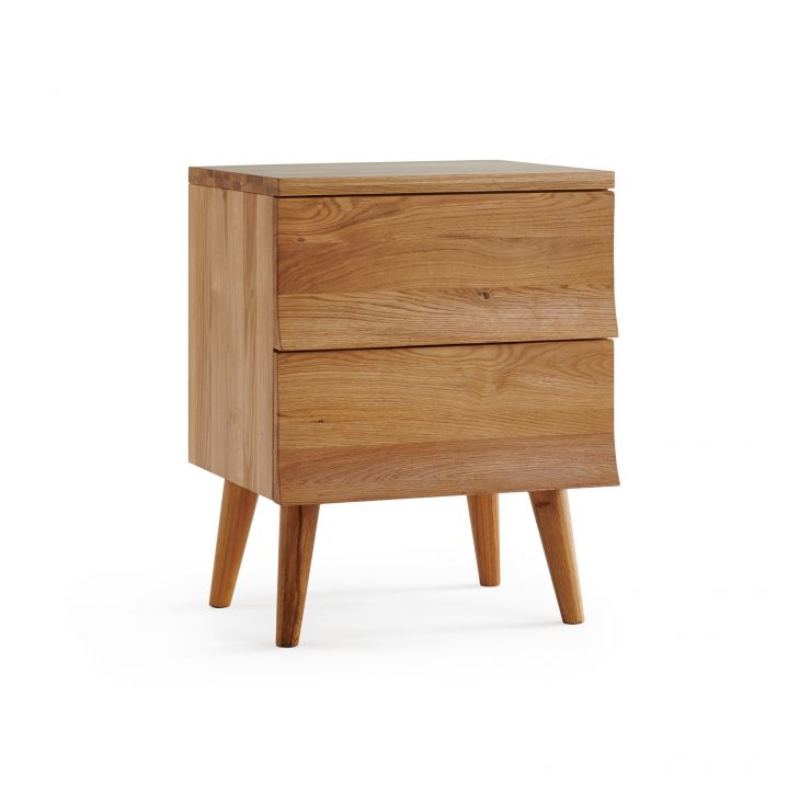 Cascade Natural Solid Oak 2 Drawer Bedside Table