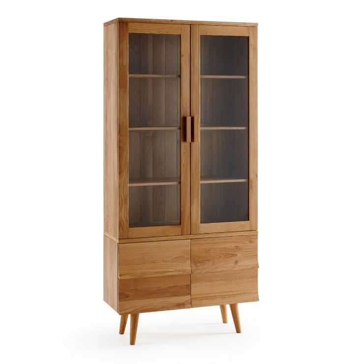 Cascade Natural Solid Oak Glazed Display Cabinet
