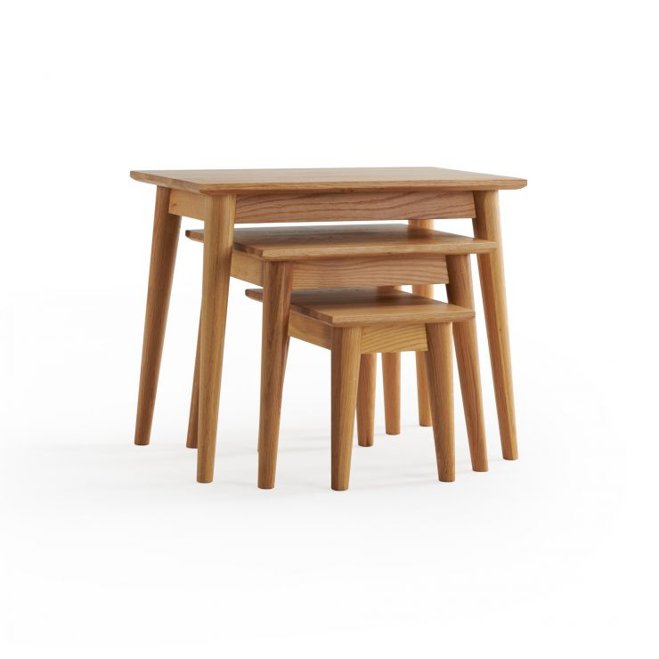 Cascade Natural Solid Oak Nest of 3 Tables
