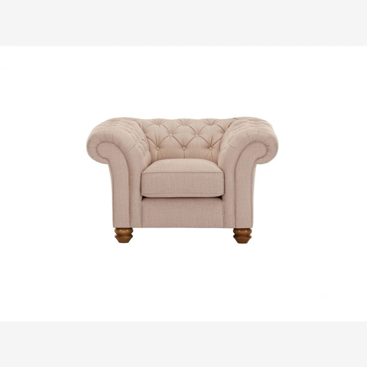 Chesterfield Armchair in Orchid Beige - Image 1