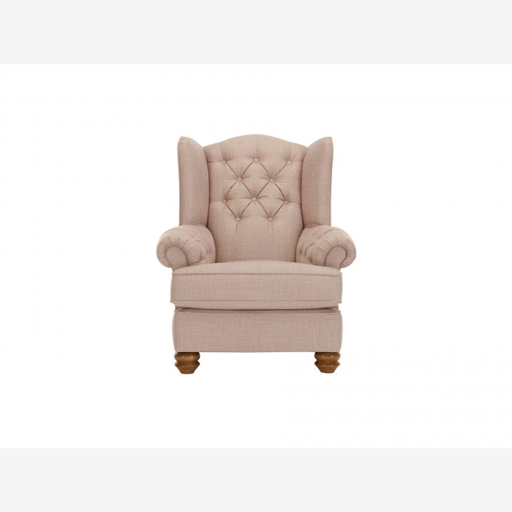 Chesterfield Wing Chair in Orchid Beige - Image 1