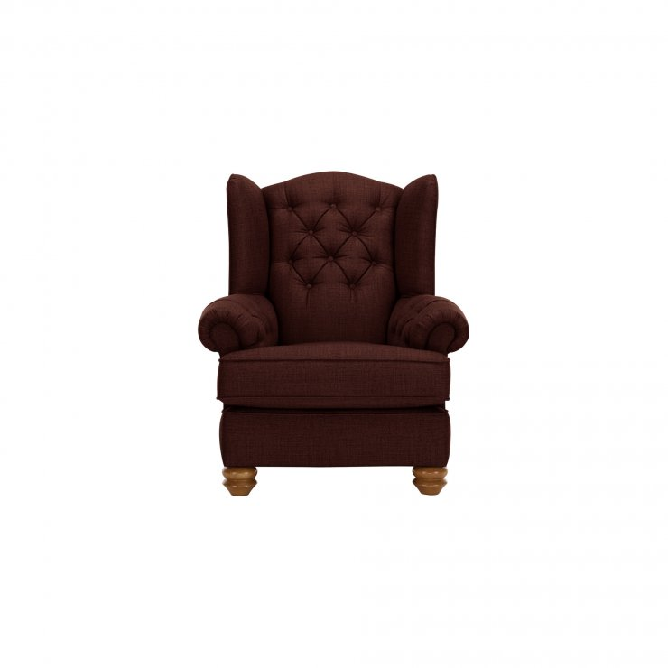 Chesterfield Wing Chair in Orchid Red - Image 1