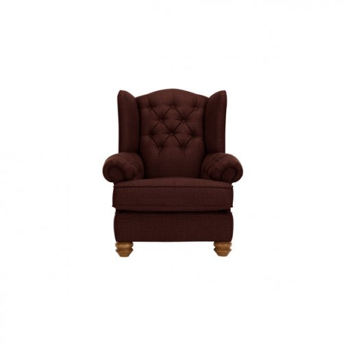 Chesterfield Wing Chair in Orchid Red