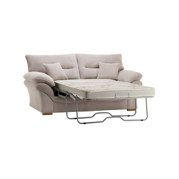Chloe 2 Seater Deluxe Sofa Bed in Breeze Fabric - Silver - Image 1