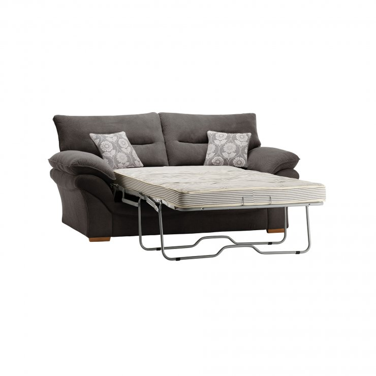 Chloe 2 Seater Deluxe Sofa Bed in Dynasty Fabric - Charcoal - Image 7