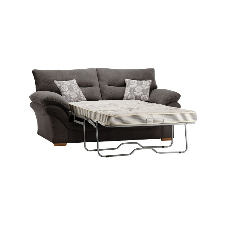 Chloe 2 Seater Deluxe Sofa Bed in Dynasty Fabric - Charcoal - Image 1