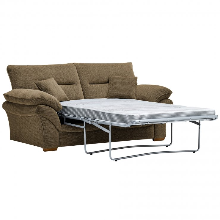 Chloe 2 Seater Deluxe Sofa Bed in Mizuna Fabric - Camel - Image 2