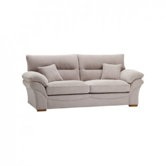 Chloe 3 Seater Sofa High Back in Breeze Fabric - Silver