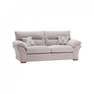 Chloe 3 Seater Sofa High Back in Dynasty Fabric - Silver