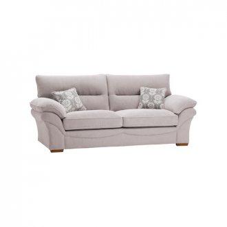 Chloe 3 Seater Sofa High Back in Dynasty Fabric - Silver
