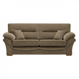 Chloe 3 Seater Sofa High Back in Mizuna Fabric - Camel