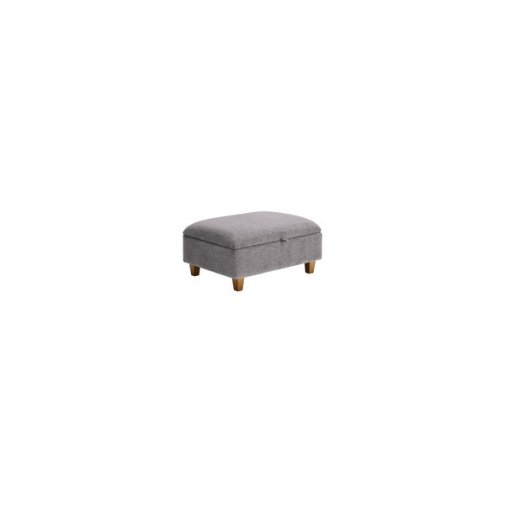 Chloe Storage Footstool in Logan Fabric with Oak Feet - Silver
