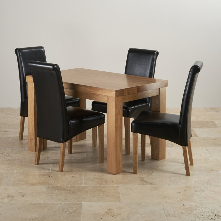 """Chunky 4ft x 2ft 6"""" Solid Oak Dining Table + 4 Black Leather Scroll Back Chairs"""