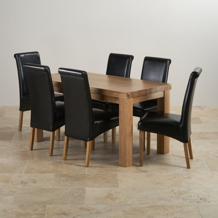"Chunky 5ft x 2ft 6"" Solid Oak Dining Table + 6 Black Leather Chairs"