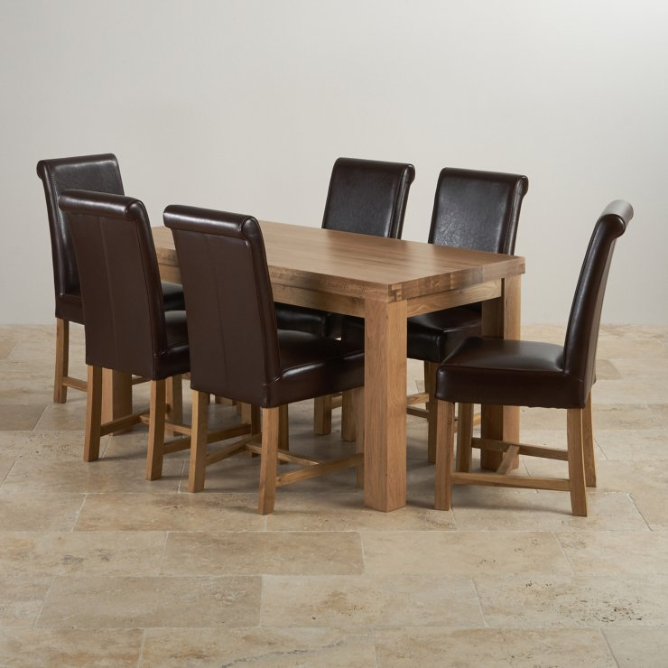 """Chunky 5ft x 2ft 6"""" Solid Oak Dining Table + 6 Braced Brown Scroll Back Leather Chairs"""