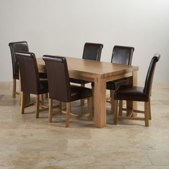 Chunky 6ft x 3ft Real Oak Dining Table + 6 Brown Leather Braced Chairs