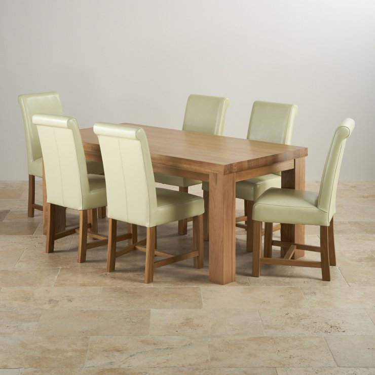 Chunky 6ft x 3ft Solid Oak Dining Table + 6 Cream Leather Braced Chairs