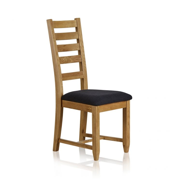 Classic Dining Chair in Natural Solid Oak - Black Fabric Seat - Image 4