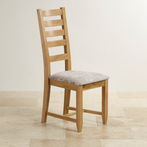 Classic Dining Chair in Natural Solid Oak - Patterned Silver Fabric Seat
