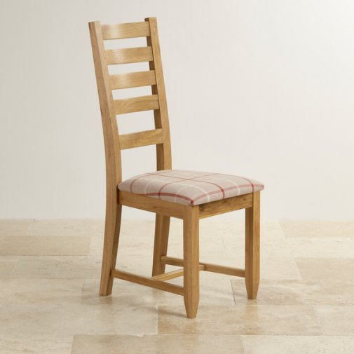 Classic Dining Chair in Natural Solid Oak - Check Natural Fabric Seat