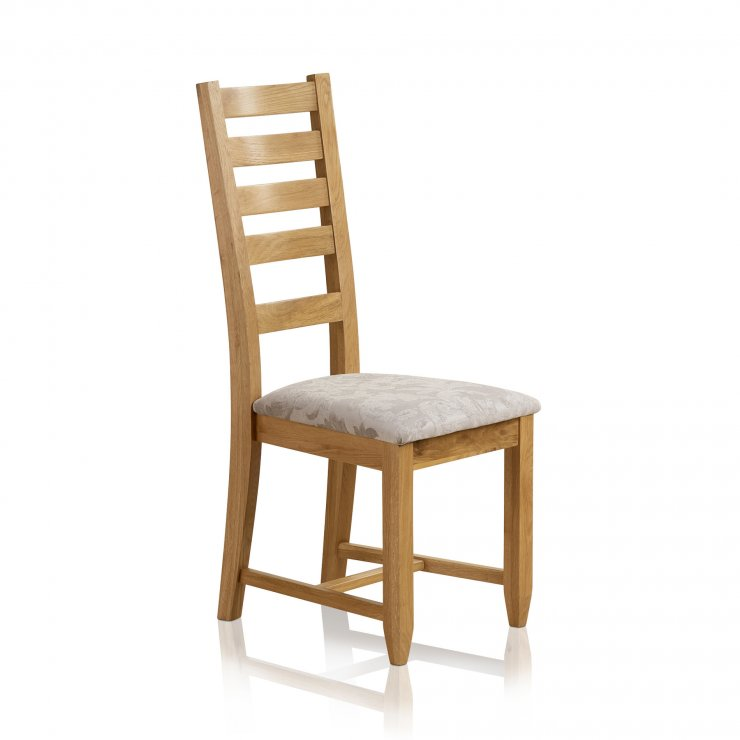Classic Dining Chair in Natural Solid Oak - Patterned Silver Fabric Seat - Image 3