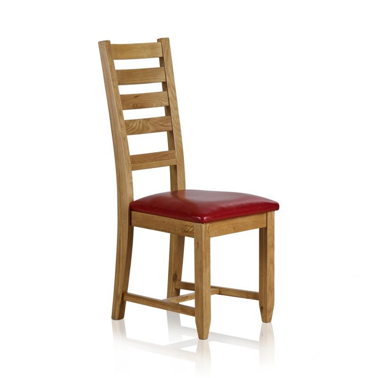 Classic Dining Chair in Natural Solid Oak - Red Leather Seat - Image 4